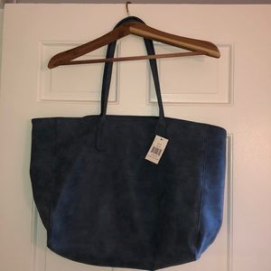 Saks Fifth Avenue blue faux suede tote